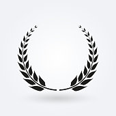 Laurel wreath icon. Award and victory symbol. Trophy and prize for winners. Vector illustration.