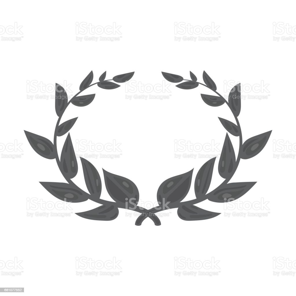 Laurel wreath icon in monochrome style isolated on white background. Greece symbol stock vector illustration. royalty-free laurel wreath icon in monochrome style isolated on white background greece symbol stock vector illustration stock vector art & more images of anniversary