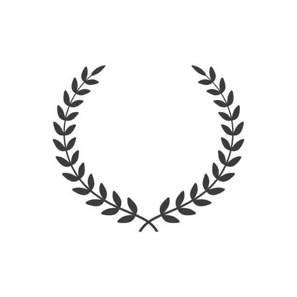 laurel wreath icon on white background. - laurel leaf stock illustrations, clip art, cartoons, & icons