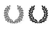 Laurel wreath icon. Symbol of victory, triumph and success. Black award laurel logo on white background. Luxury emblem for winner. Laurel leaves symbol of high quality. Vector illustration.