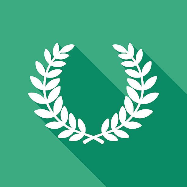 Laurel Wreath Icon White - ilustración de arte vectorial