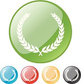 Laurel wreath button icons in green, blue, red, yellow, black.
