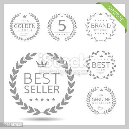 Laurel wreath label badge set isolated. Best seller, five stars, best brand, genuine quality. Vector illustration
