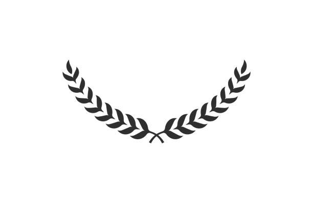 Laurel wreath isolated on white background. Award icon. Symbol of victory. Vector Laurel wreath isolated on white background. Award icon. Symbol of victory. Vector anniversary silhouettes stock illustrations
