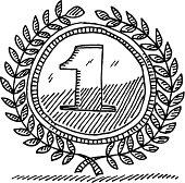 Hand-drawn vector drawing of a Laurel Wreath Number One Award. Black-and-White sketch on a transparent background (.eps-file). Included files are EPS (v10) and Hi-Res JPG.