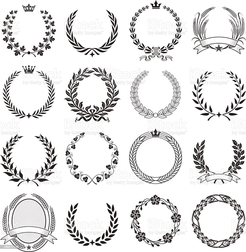 Laurel Wreath round Ceremonial Frames. vector art illustration