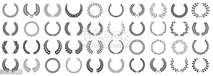 Laurel wreath set of various shapes