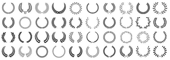 Laurel wreath set of various shapes