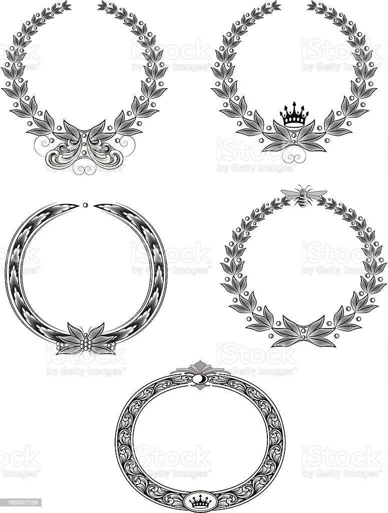 Laurel Wreath Set royalty-free stock vector art