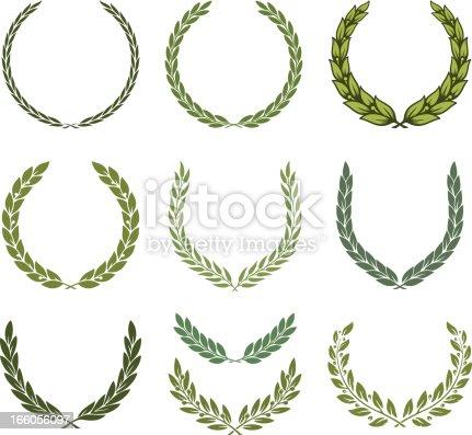 Laurel wreath set. Vector illustration