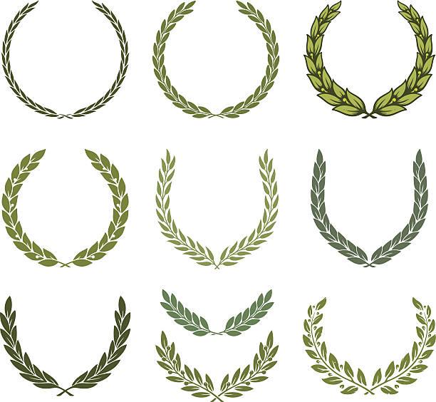 Laurel wreath set Laurel wreath set. Vector illustration bay tree stock illustrations
