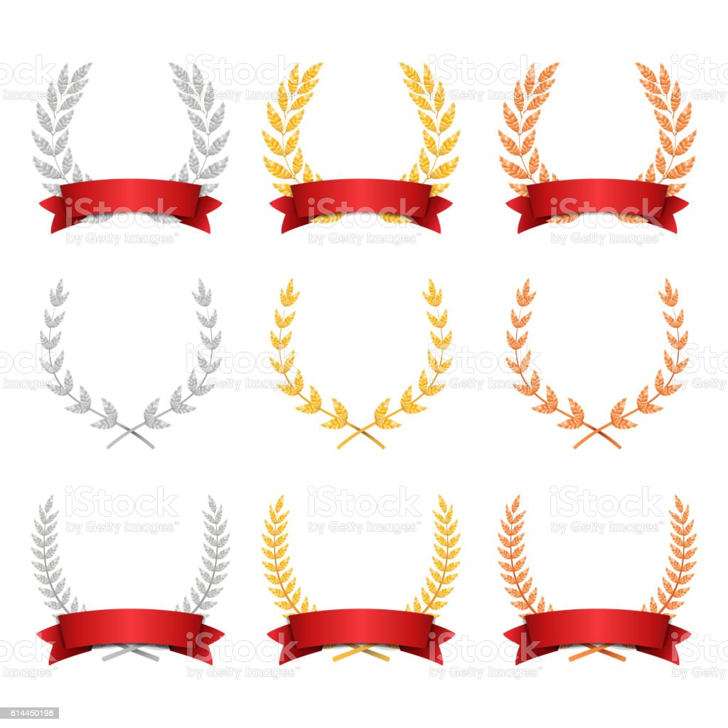 Laurel Wreath Trophy Set Vector. Award Placement Achievement. Realistic Gold Silver Bronze Laurel Wreath. Red Ribbon. Winner Honor Prize. Isolated Illustration vector art illustration