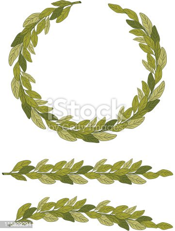 Laurel wreath and branches. The winners of some ancient athletic games or emperors were also crowned with laurel wreaths.