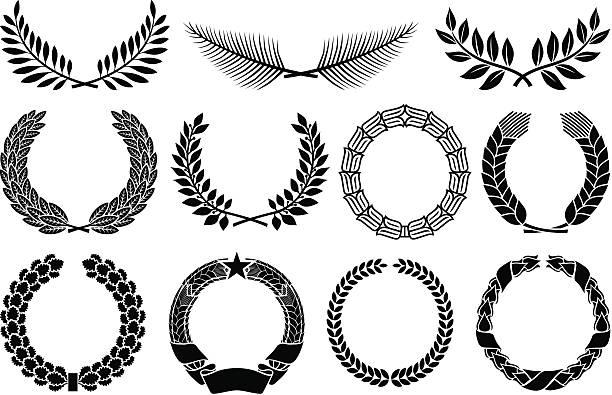 laurel wreath laurel wreath,wreath set vector illustration olive branch stock illustrations