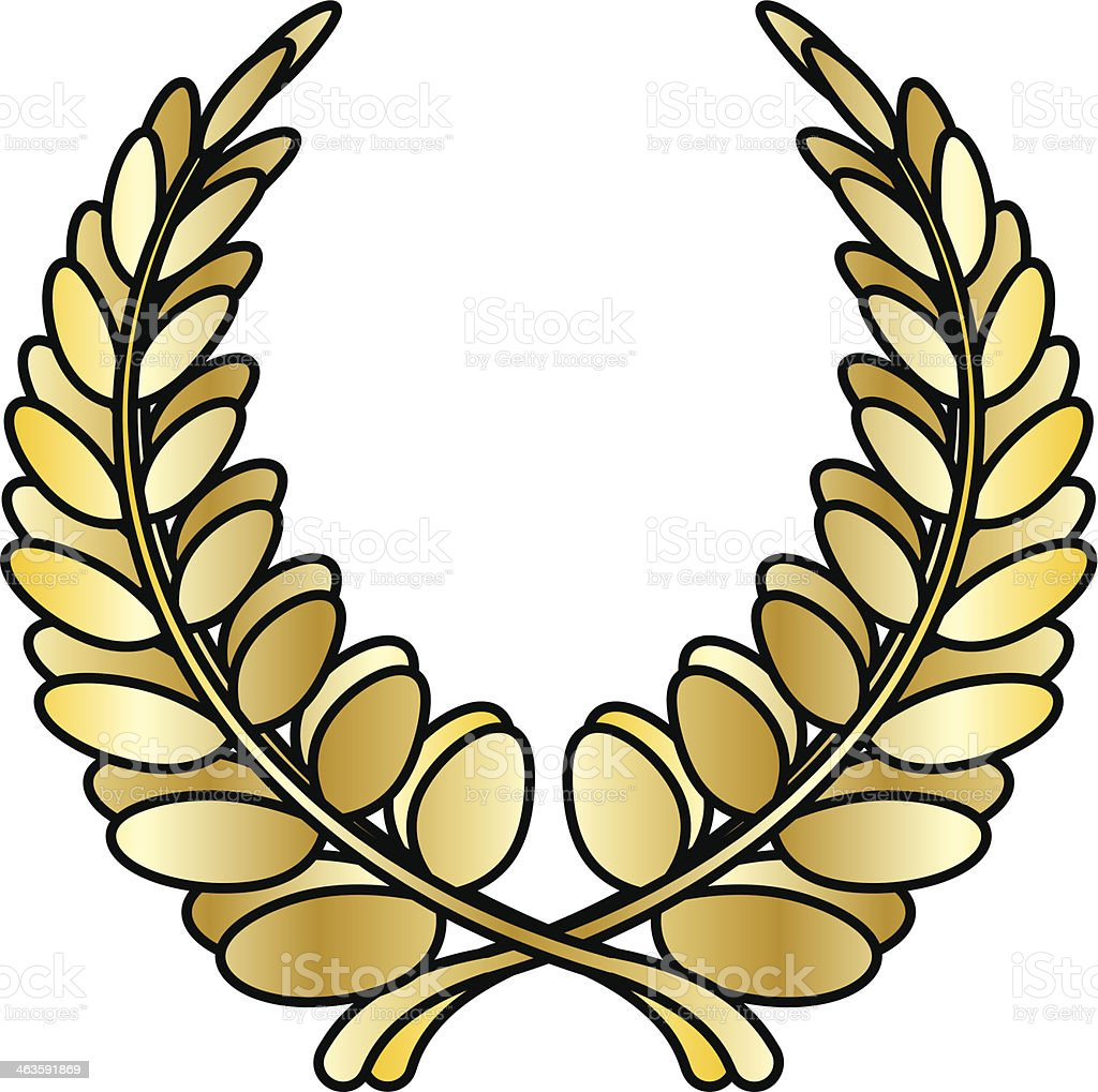 A laurel wreath / circle. In gold.