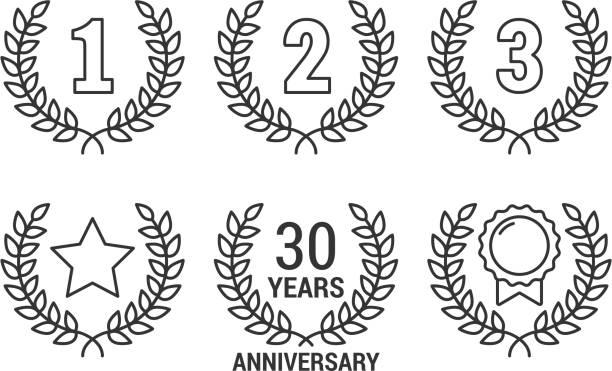 laurel wreath - anniversary icons stock illustrations
