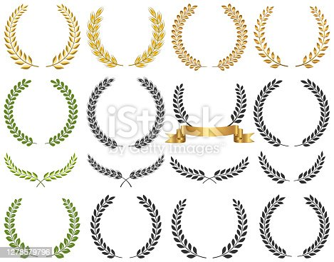Set of laurel wreath vector illustration. Eps 10 file with no effect or transparencies. Clean and smooth design and Fully editable.