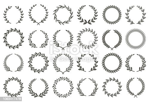 Laurel wreath. Vintage heraldry branching leaf wreaths, laurels leaves and laurels nobility label excellence recognition accomplishment triumphant award isolated vector symbols set