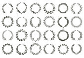 Laurel wreath. Vintage heraldry branching leaf wreaths, laurels leaves and laurels nobility label excellence recognition accomplishment triumphant award isolated vector symbols set