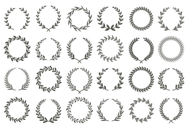 Laurel wreath. Vintage heraldry branching leaf wreaths, laurels leaves and laurels nobility label vector set Laurel wreath. Vintage heraldry branching leaf wreaths, laurels leaves and laurels nobility label excellence recognition accomplishment triumphant award isolated vector symbols set anniversary icons stock illustrations