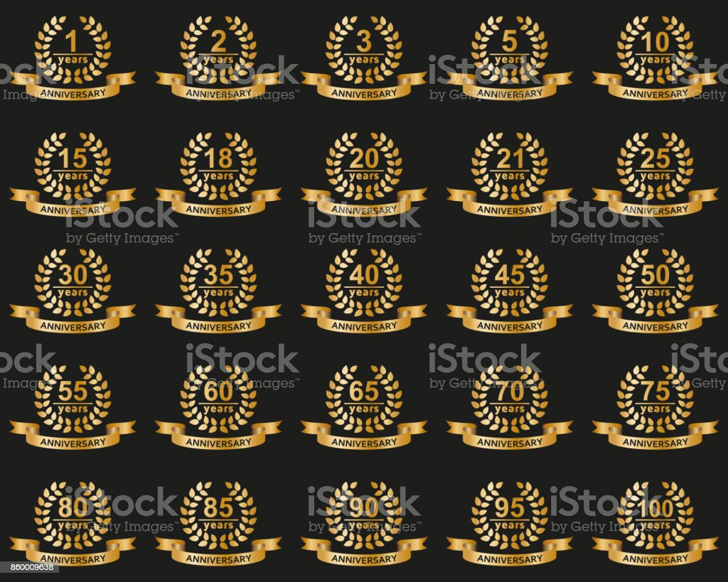 Laurel wreaths collection. Jubilee from 1 to 100 years vector art illustration