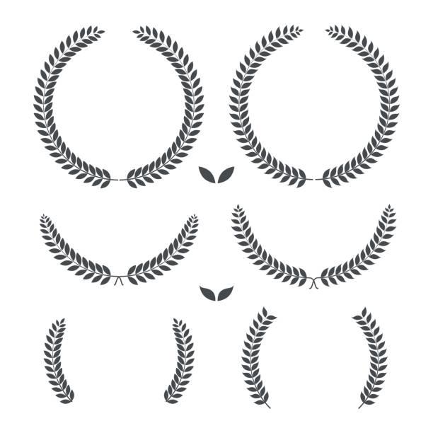 Laurel wreaths. retro vintage premium quality. Vector illustration. Laurel wreaths. retro vintage premium quality. Vector illustration. bay leaf stock illustrations