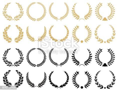 istock Laurel Wreaths Set - illustration 520293102