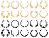 Laurel wreaths vector collection.