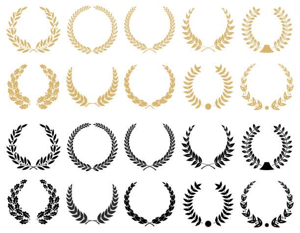 laurel wreaths set - illustration - certificate and awards frames stock illustrations, clip art, cartoons, & icons