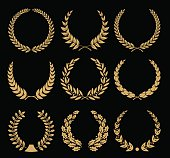 Laurel wreaths vector collection.