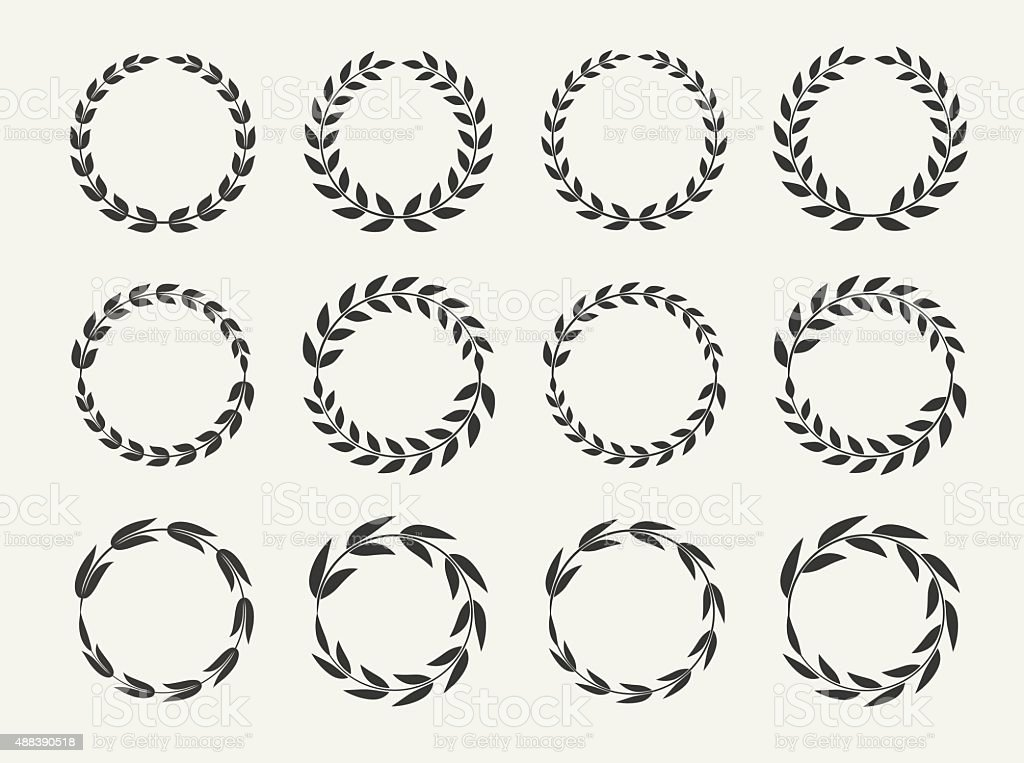 Laurel wreaths set, vector illustration vector art illustration