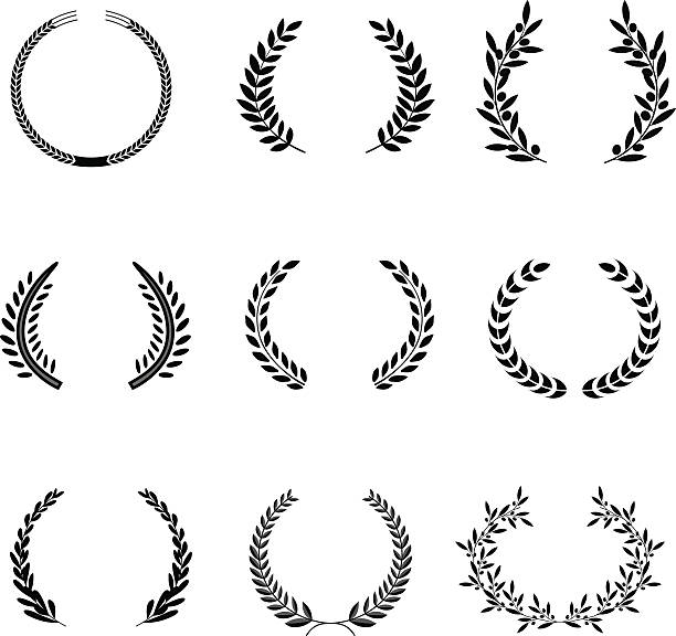 Laurel Wreaths Vector. Elements It can be used in the design for websites, infographic, catalogs, brochures, magazines, etc. olive branch stock illustrations
