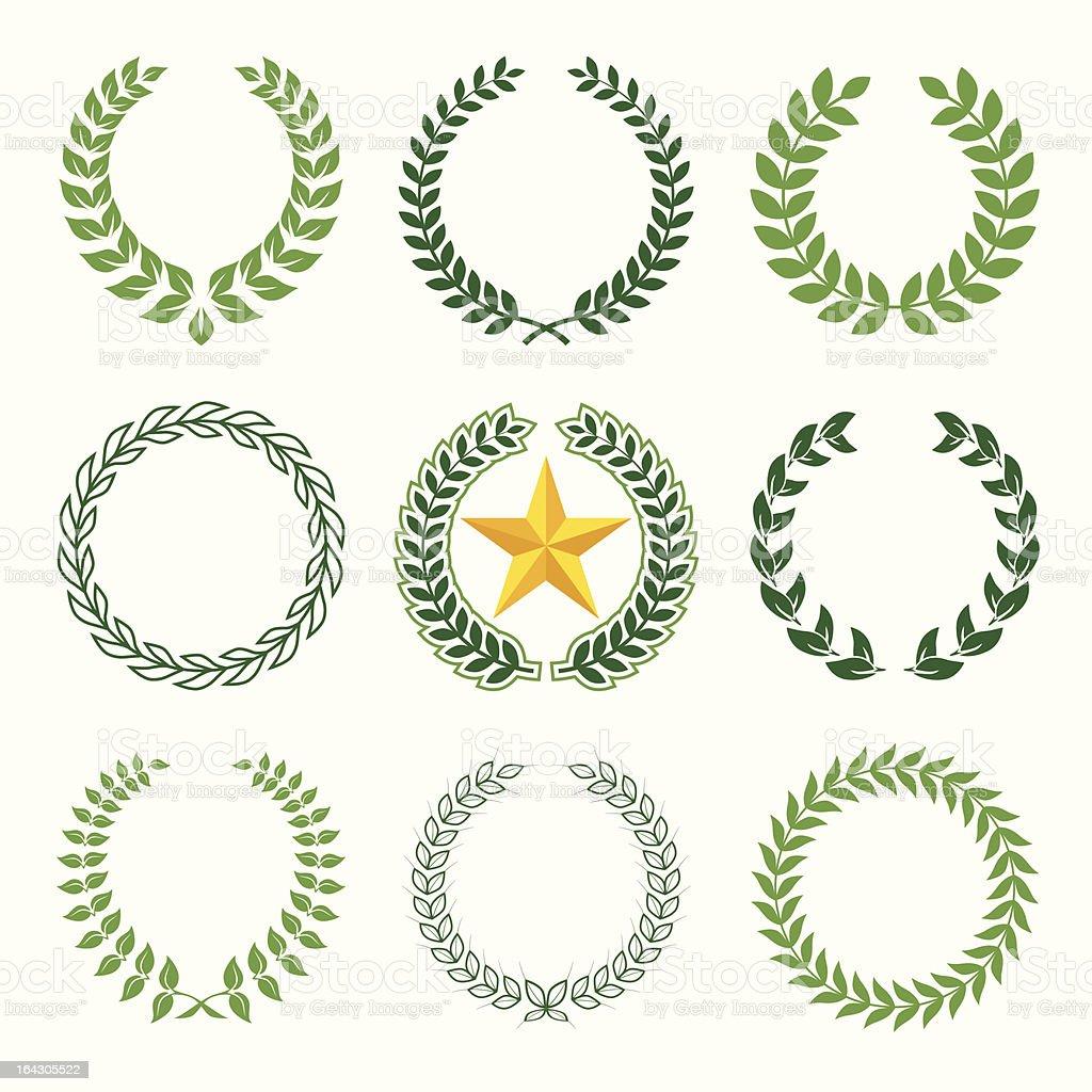 laurel wreaths vector art illustration