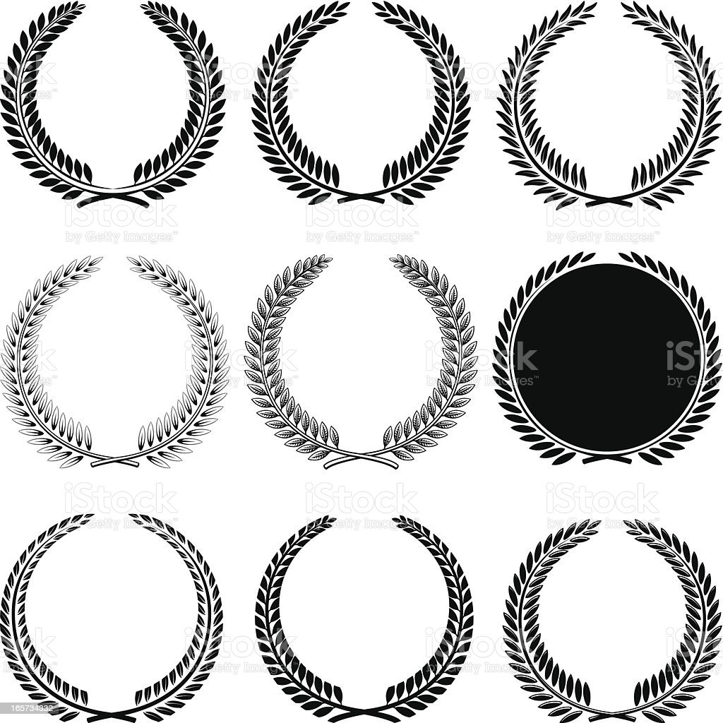 Laurel wreaths royalty-free stock vector art
