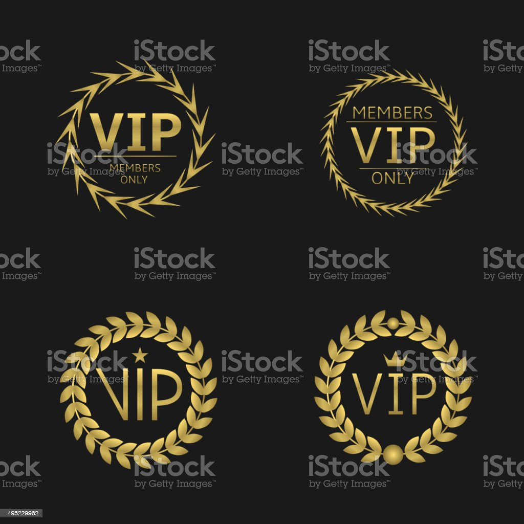VIP Laurel wreaths vector art illustration