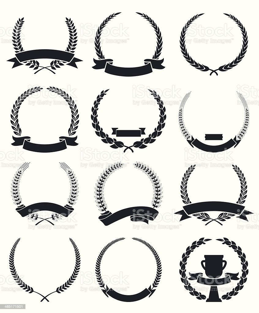 Laurel Wreaths with Ribbon vector art illustration