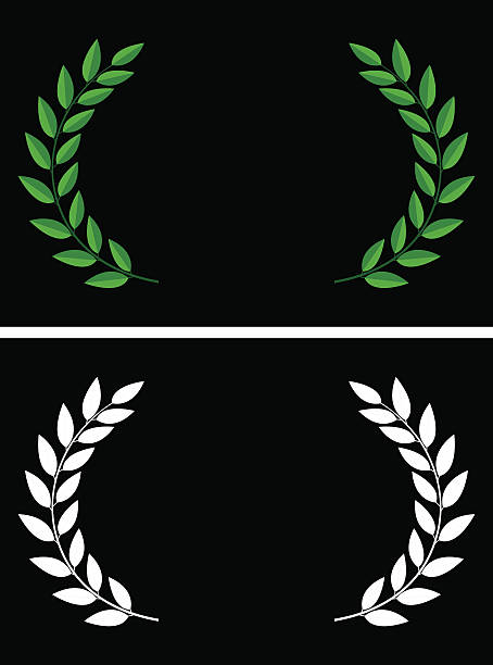 Laurels Vector illustration of laurels in flat style and in silhouette. bay tree stock illustrations