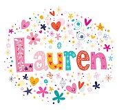 Lauren female name decorative lettering type design