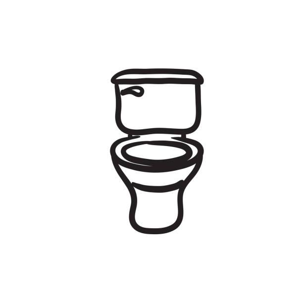 stockillustraties, clipart, cartoons en iconen met toilet bowl schets pictogram - cell phone toilet