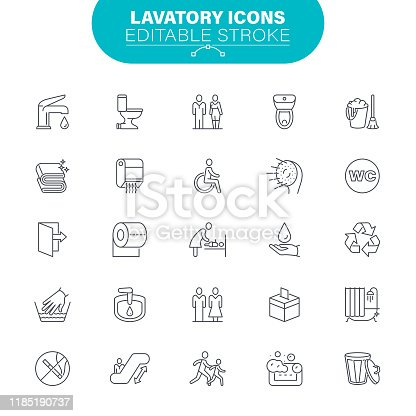 Toilet, Man, Woman, Bathroom, USA, Editable Icon Set