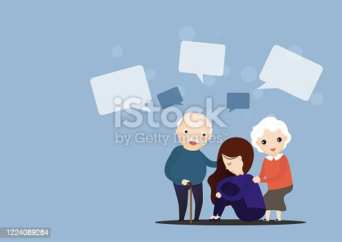 Father and mother hugging son while he was sad. Text box. speech bubbles. Vector illustration.