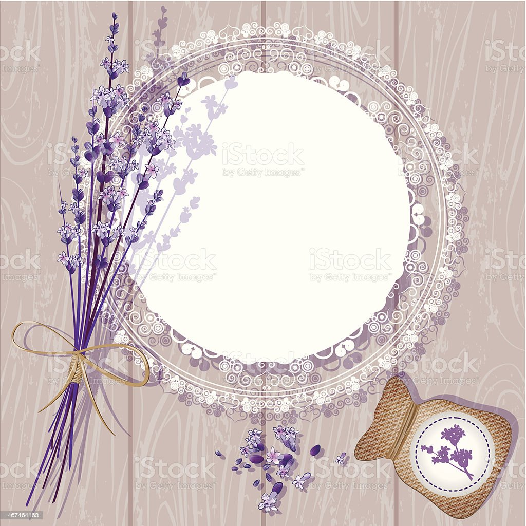 Lavender against a wooden background  royalty-free stock vector art