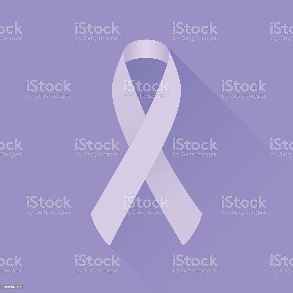 Lavender awareness ribbon (all kinds of cancer). Flat design vector art illustration