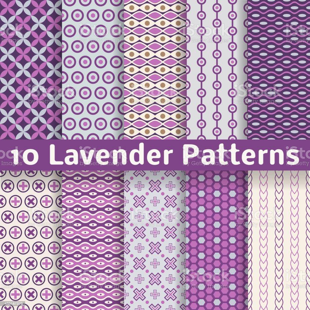 Lavender different vector seamless patterns vector art illustration