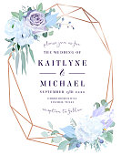 Lavender dusty rose, white hydrangea,anemone, eucalyptus, juniper vector design frame.Stylish pink gold geometry. Watercolor style.Wedding seasonal flower card.Floral composition.Isolated and editable