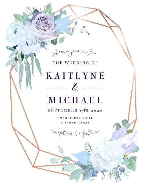 Lavender dusty rose, white hydrangea, anemone, eucalyptus Lavender dusty rose, white hydrangea,anemone, eucalyptus, juniper vector design frame.Stylish pink gold geometry. Watercolor style.Wedding seasonal flower card.Floral composition.Isolated and editable lavender color stock illustrations