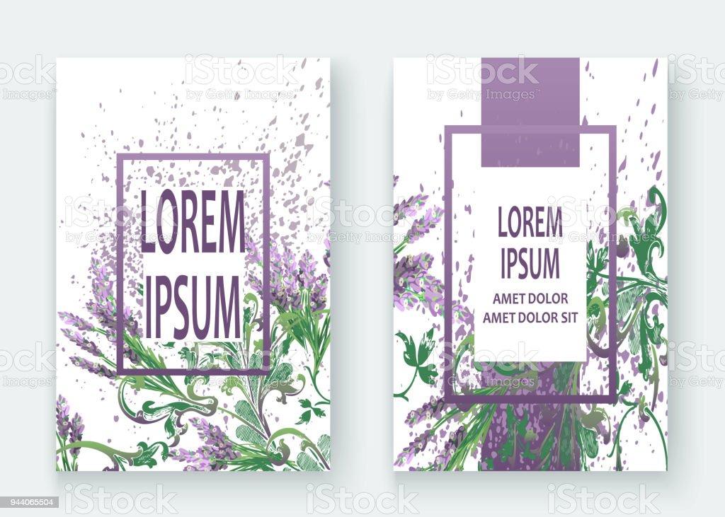 Lavendel Blumenmuster Cover Design. Hand Gezeichnet Barock Blume. Elegante  Trendige Hintergrund Blüte