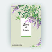Lavender floral pattern cover design. Hand drawn creative flower. Elegant trendy artistic background blossom greenery branche. Graphic illustration wedding, invitation, poster, greeting card, cover book, catalog vector