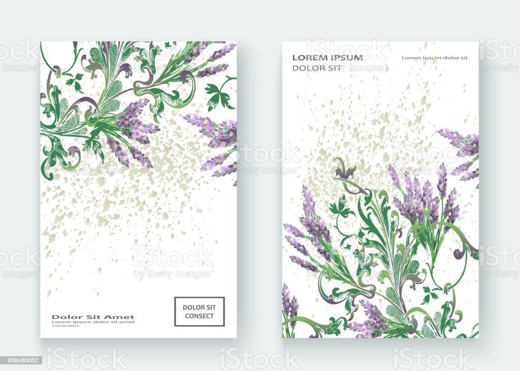 Lavendel Blumenmustercoverdesign Hand Gezeichnet Kreative Blume ...
