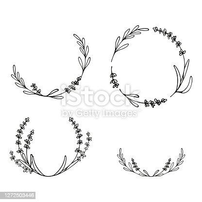 istock Lavender flowers frame. Hand drawn wreath. 1272503446